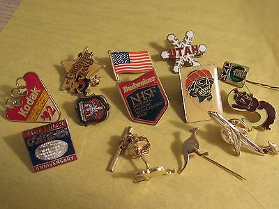 Lot of 13 Vintage mixed hat Lapel Pins. Ships free