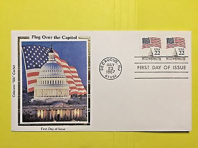 "1985 USPS#2115 22c Flag over The Capital Colorano ""Silk"" Cachet"