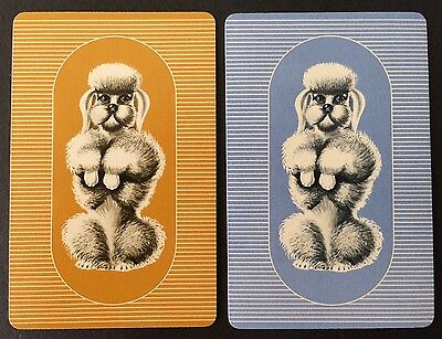 Pair of Vintage Swap / Playing Cards - POODLE DOGS