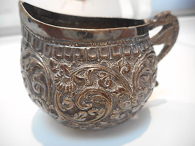 Small Silver Cream Pitcher Very Old 2 inches high - Dragon Handle - Ornate