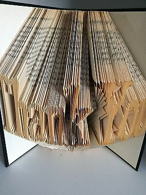 Book folding art pattern Thank You style 2 folded book pages 614 (pattern only)