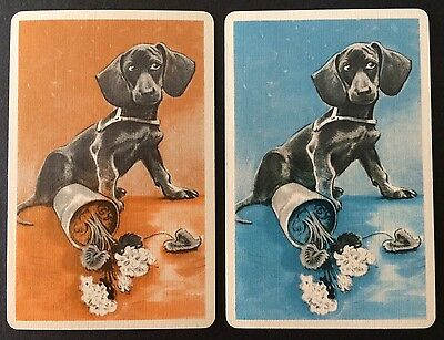Pair of Vintage Swap / Playing Cards - DOGS WITH FLOWER POTS - LINEN