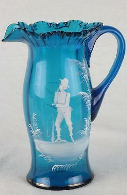 Antique 19th C. Century Mary Gregory Water Pitcher Ruffle Top Blue Hand Painted