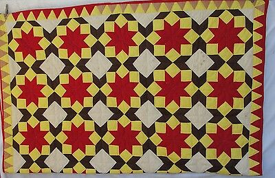 Vintage Star Quilt Hand Quilted Reds Yellow Brown 82 X 66