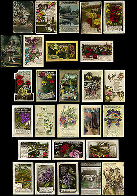 27 Antique Postcards - Beautiful GREETING CARDS - Edwardian/Victorian