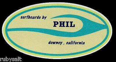 """""""SURFBOARDS BY PHIL"""" DOWNEY CALIFORNIA Sticker Decal Surfing 1960's RETRO"""