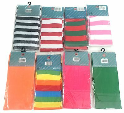 New Women Colorful Stripe Over Knee High Socks Stockings Party Fancy Dress