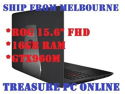 "Asus ROG GL552VW-DM205T Laptop i7 6700 15.6"" FHD 16GB RAM 1TB HDD GTX960M Win10"