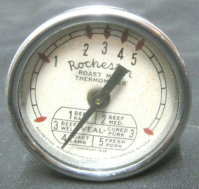 Vintage Rochester Roast Meat Thermometer Stainless Steel