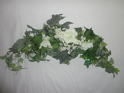 Home Interiors  34'' White Roses '' Swag/ Accents