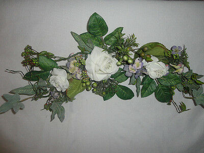 Home Interiors  26'' White Roses & Purple Flowers '' Swag/ Accents