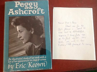 First Edition PEGGY ASHCROFT signed handwritten letter & book DJ