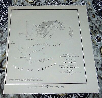 RARE ANTIQUE Map 1851 HORN ISLAND PASS Mississippi