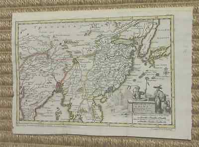 Rare copperplate map of China area by Pieter van der Aa, 1706, outline color