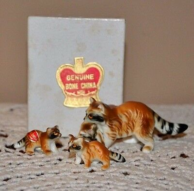 Vintage Miniature Set of 3 Bone China Raccoon Family Figurines Japan with box
