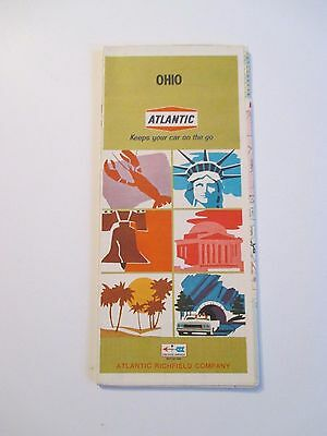 Vintage 1968 ATLANTIC OHIO Gas Service Station Road Map~Gold Cover