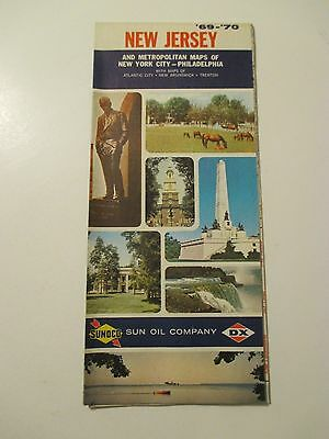 Vintage 1969-1970 SUNOCO NEW JERSEY Gas Service Station Road Map