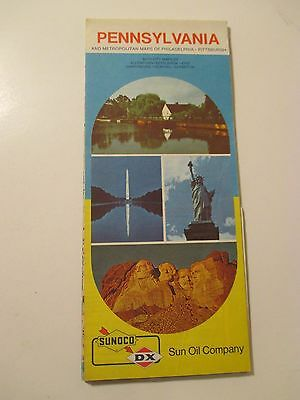 Vintage 1973 SUNOCO PENNSYLVANIA Gas Service Station Road Map