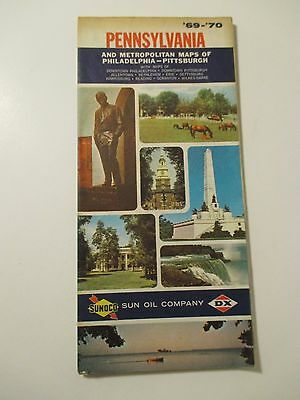 Vintage 1969-1970 SUNOCO PENNSYLVANIA Gas Service Station Road Map