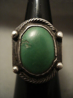 Early 1900's Vintage Navajo Cerrillos Turquoise Silver Ring