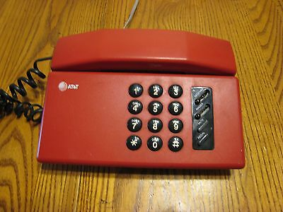 Vintage At&t Red Phone With Cord Tested Works Good Condition