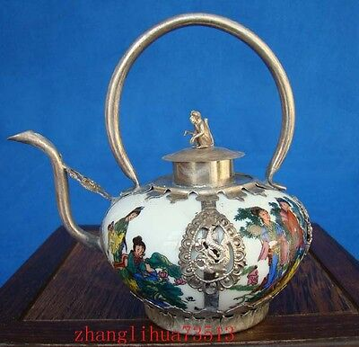 Antique Collectible Chinese Handmade Silver & Porcelain Inlaid Teapot 8 God