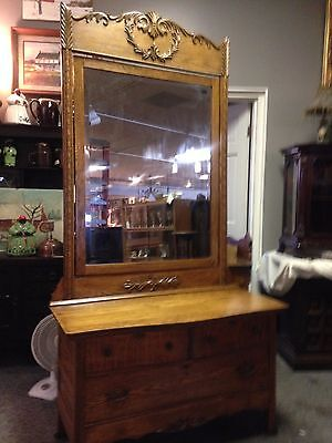 1900's Oak Vanity With Mirror And Wash Stand