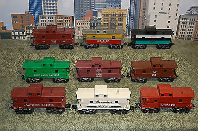 Marx Vintage Postwar Lot of 9 Different Cabooses. Several with smokestacks