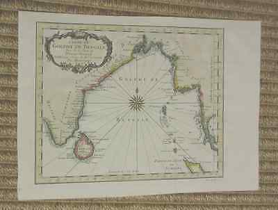 Rare copperplate map of Bay of Bengal by Jacques Nicolas Bellin, ca.1740, hcolor
