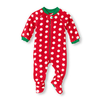 NWT The Childrens Place Footed Polka Dot Blanket Microfleece Sleeper Pajamas