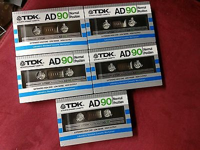 5 New Sealed TDK AD-90 Type I  Cassette Tape Made in Japan