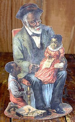 Black Americana Old Grandpa Making Baby Take Ayers Pills Medicine Counter Sign
