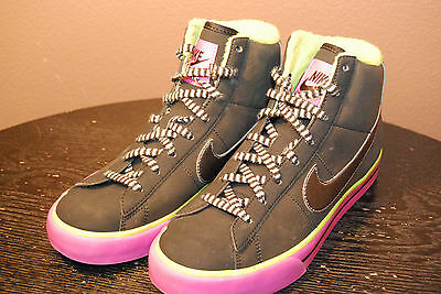 Nike Girls High Top Sneakers - Size 3.5 Y - Black, Green, Purple - EUC