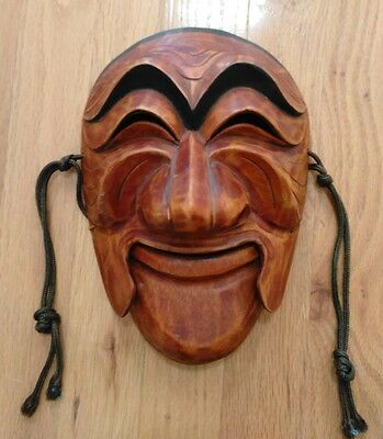 Antique / Vintage Japanese Chinese Carved Wood Moveable Theater Mask  - 2RARE!!!