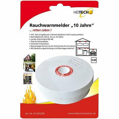 """3x Heitech Smoke detector """"10 Years"""" - long life detection Security"""