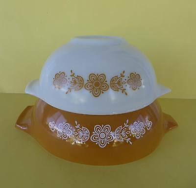 Set of 2  Pyrex Cinderella Nested Mixing Bowls Butterfly Gold..