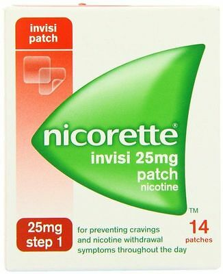 nicorette invisi patch 25mg step 1.14 patches per pack x 3 = 42 patches in total