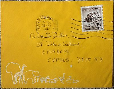 South Africa 1960 Nicely Used Small Illustrated Cover To Episkopi Cyprus