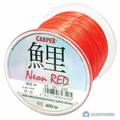 (0,025€/m) 600m CARPEX NEON RED, ANGELSCHNUR, KARPFENSCHNUR METHOD FEEDERSCHNUR