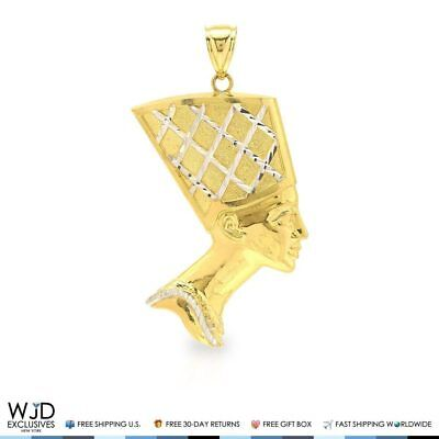 10K Yellow & White Gold Diamond Cut Egyptian Queen Nefertiti Charm Pendant 2.5""
