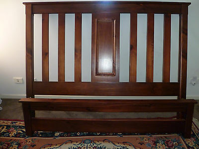 Federation style bed head and bed end queen size in brown pine wood