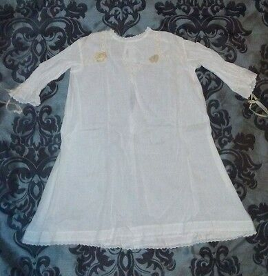 vintage infant's cotton christening baptismal gown handmade lace embroidered