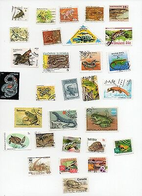 REPTILES on Stamps 30 All Different and Off Paper