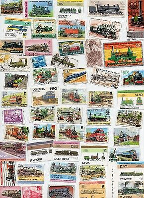 TRAINS on stamps 50 All Different and Off Paper