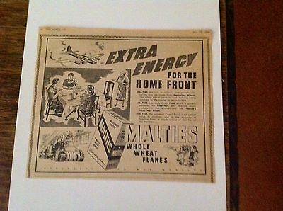 1946 Rare Original Add for Malties Whole Wheat Flakes - Essential to War Workers