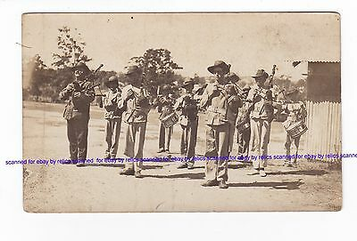 MILITARY PIPE BAND Vintage Real Photo by G.R. BROWN Brisbane AUSTRALIA