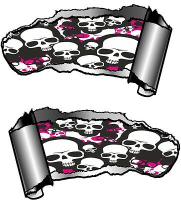 SMALL Pair Ripped Open Metal Rip GASH Gothic Evil Skull Inside Car - Car sticker designripped open gash torn metal design with evil eye monster looking