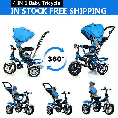 FUWALE 4 IN 1 Reverse Seat Kids Tricycle Baby Stroller Prams Toddler Trike Bike