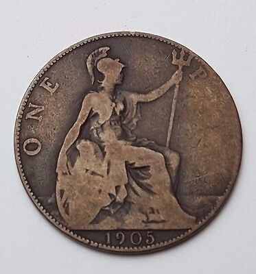 1905 - Copper - One Penny - Great Britain - King Edward VII - English UK Coin