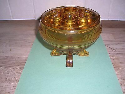 Art Deco  Amber Glass Vase And Frog 4.5 Inches High